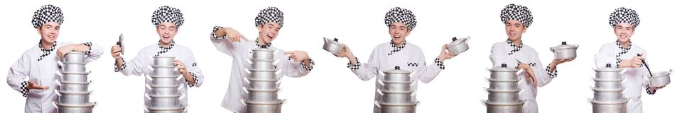 The set of photos with funny cook. Set of photos with funny cook Royalty Free Stock Images