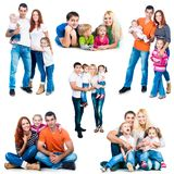 Happy smiling families. Set photos of a happy smiling families isolated on white background royalty free stock image