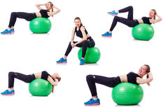 Set of photos with model and swiss ball Royalty Free Stock Photo