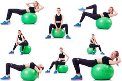 Set of photos with model and swiss ball Stock Image