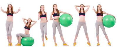 Set of photos with model and swiss ball Royalty Free Stock Image