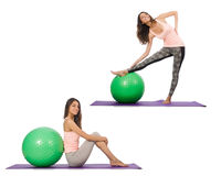 Set of photos with model and swiss ball Stock Photography