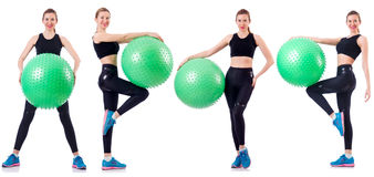 Set of photos with model and swiss ball Stock Images