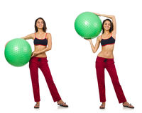 Set of photos with model and swiss ball Stock Photo