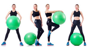 Set of photos with model and swiss ball Stock Photos