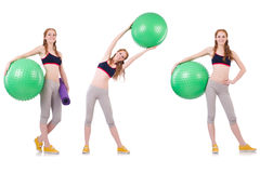 The set of photos with model and swiss ball Stock Photos