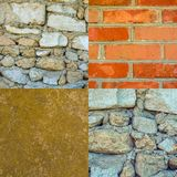 Set of photos of old stone walls texture background Royalty Free Stock Image