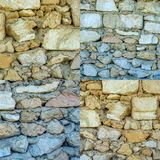 Set of photos of old stone walls texture background Royalty Free Stock Photography