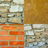 Set of photos of old stone walls texture background Stock Photos