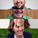 Set of photos of smiling people. MAn and woman mouth close up. Set of photos of smiling people. MAn and women mouth close up. Concept of positive emotion of Royalty Free Stock Image