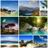 A set of photos of summer holidaym. Collage of summer beach images - nature and travel background (my photos Stock Photography