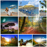A set of photos of summer holidaym. Collage of summer beach images - nature and travel background (my photos Royalty Free Stock Photography