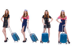 Set of photos with travelling airhostess Royalty Free Stock Photography
