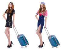 Set of photos with travelling airhostess Stock Photos