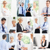 Set of photos with two business partners in different situations Royalty Free Stock Photo