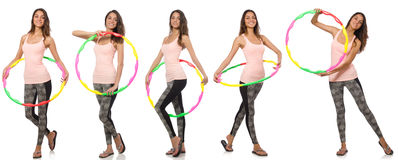Set of photos with woman and hula hoop Royalty Free Stock Images