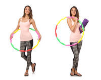 Set of photos with woman and hula hoop Royalty Free Stock Image