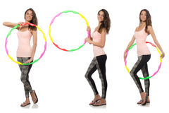 Set of photos with woman and hula hoop Stock Photography