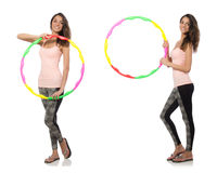 Set of photos with woman and hula hoop Royalty Free Stock Photos