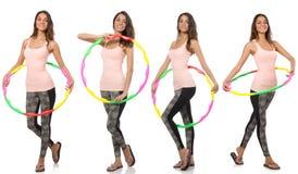 Set of photos with woman and hula hoop Stock Photos