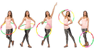 The set of photos with woman and hula hoop Royalty Free Stock Photos