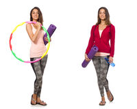The set of photos with woman and hula hoop Stock Images