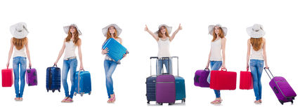 Set of photos with woman travelling Royalty Free Stock Images