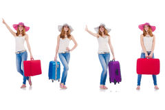 Set of photos with woman travelling Royalty Free Stock Image