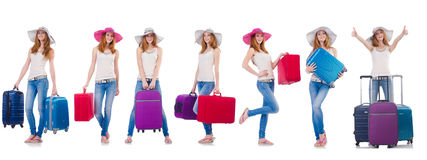 Set of photos with woman travelling Stock Photos