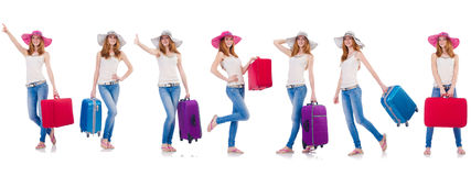 Set of photos with woman travelling Stock Images