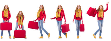 Set of photos with woman travelling Royalty Free Stock Photo