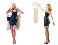 The set of photos with woman trying new clothing Royalty Free Stock Photos