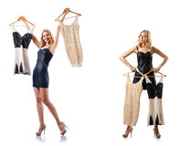 The set of photos with woman trying new clothing Stock Image