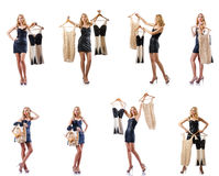 The set of photos with woman trying new clothing. Set of photos with woman trying new clothing Royalty Free Stock Photo