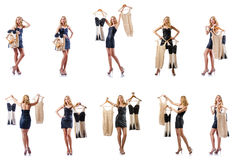 The set of photos with woman trying new clothing. Set of photos with woman trying new clothing Stock Image