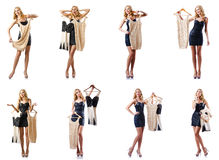 Set of photos with woman trying new clothing Royalty Free Stock Photo