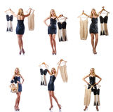 The set of photos with woman trying new clothing. Set of photos with woman trying new clothing Royalty Free Stock Image