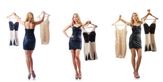 The set of photos with woman trying new clothing. Set of photos with woman trying new clothing Royalty Free Stock Photography