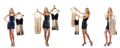 The set of photos with woman trying new clothing. Set of photos with woman trying new clothing Royalty Free Stock Images