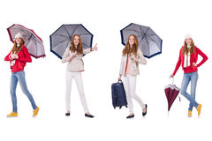 Set of photos with woman and umbrella Royalty Free Stock Photos