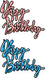 Set of 2 phrases Happy Birthday, calligraphic text in pink Stock Images