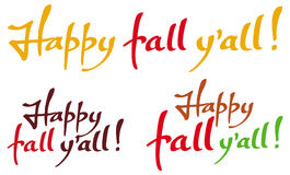 Set of the phrases 'Happy fall y'all!'. Original custom hand lettering. Design element for greeting cards, invitations, prints. Raster clip art Royalty Free Stock Photography