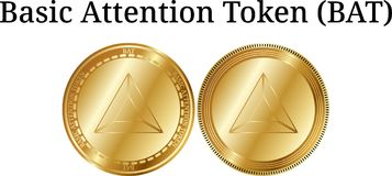 Set of physical golden coin Basic Attention Token BAT, digital cryptocurrency. Basic Attention Token BAT icon set. Royalty Free Stock Photos
