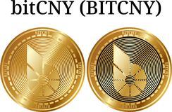 Set of physical golden coin Bitcny BITCHY. Digital cryptocurrency. Bitcny BITCHY icon set. Vector illustration isolated on white background Stock Images