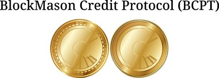 Set of physical golden coin BlockMason Credit Protocol BCPT. Digital cryptocurrency. BlockMason Credit Protocol BCPT icon set. Vector illustration isolated on Royalty Free Stock Photos