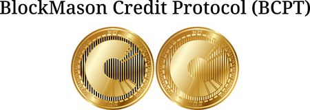 Set of physical golden coin BlockMason Credit Protocol BCPT. Digital cryptocurrency. BlockMason Credit Protocol BCPT icon set. Vector illustration isolated on Stock Images