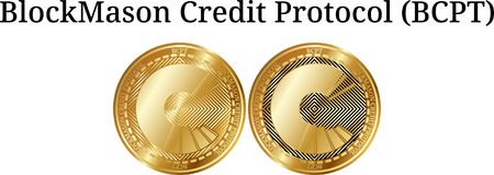 Set of physical golden coin BlockMason Credit Protocol BCPT. Digital cryptocurrency. BlockMason Credit Protocol BCPT icon set. Vector illustration isolated on Royalty Free Stock Photo