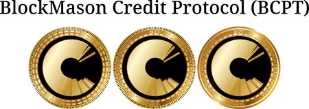 Set of physical golden coin BlockMason Credit Protocol BCPT. Digital cryptocurrency. BlockMason Credit Protocol BCPT icon set. Vector illustration isolated on Stock Photography