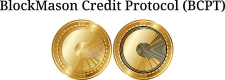 Set of physical golden coin BlockMason Credit Protocol BCPT. Digital cryptocurrency. BlockMason Credit Protocol BCPT icon set. Vector illustration isolated on Royalty Free Stock Image