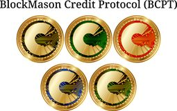 Set of physical golden coin BlockMason Credit Protocol BCPT. Digital cryptocurrency. BlockMason Credit Protocol BCPT icon set. Vector illustration isolated on Stock Photo